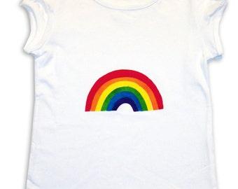 Girls Rainbow Tee Shirt  / T-Shirt / Top /  Children's / Kids / Baby Clothes