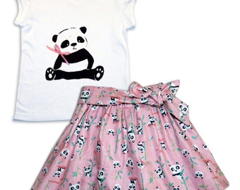 Girl's Panda Skirt and T-shirt Outfit / Girls / Babies / Children's Clothes / Baby Gift