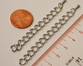 5 pcs of Antique silver extension curb chain, Iron base extender chain with drops