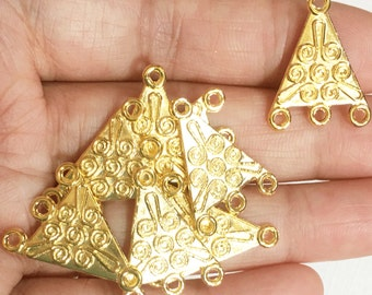 8 pcs gold tone triangle connector with 4 loops 17x22mm , gold tone  chandelier connector, gold tone double sided connector
