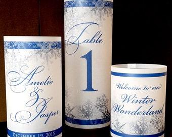 "Trio of Luminaries - Snowflake Wedding Reception Winter Table Decorations - Set of 3 vellum luminaries 8.5"", 6"", 4.25"""