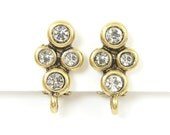 Rhinestone Clip Earring Findings Antique Gold Vintage Style with Loop |AN6-7|2