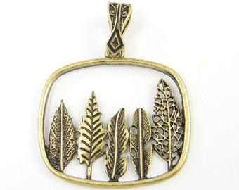 Antique Gold Tree Necklace Pendant Leaf Leaves Woodland Jewelry |AN2-4|1