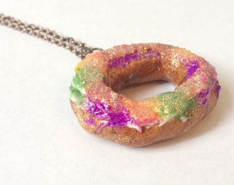King Cake Necklace (Gold Plated or Copper) - A New Orleans Mardi Gras favorite