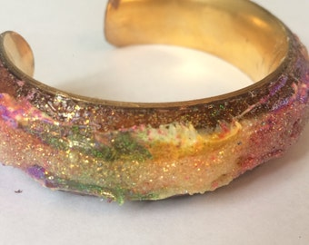 King Cake Cuff Bracelet - Polymer Clay