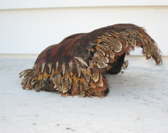 Vintage Pheasant Feather Hat Quail Feather Fascinator Skull Cap from the 1950s (3918-W)