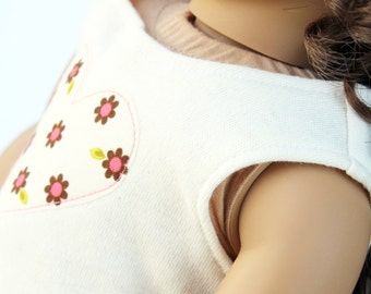 Fits like American Girl Doll Clothes - The Indian Summer Collection, Heart Applique Tank Top in Cream, Made To Order