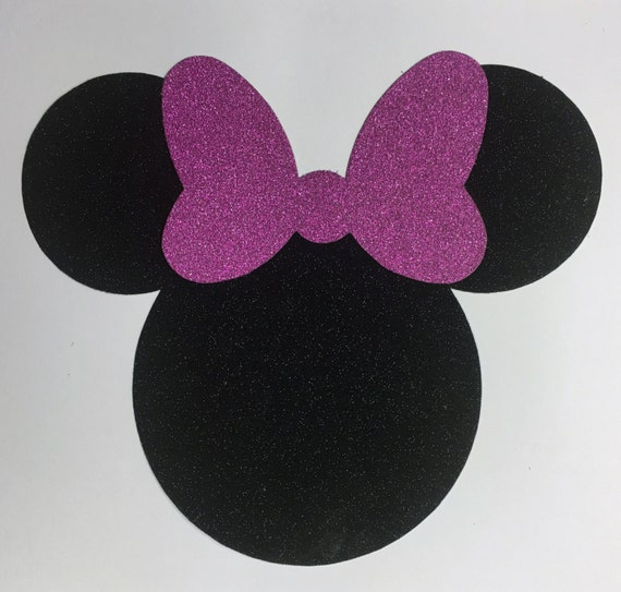 Disney Minnie Mouse Jumbo 7 Inch Black Glitter Pink Glitter Bow Die Cut Sticker Shape - 10 pcs - Vacation Scrap Decor Craft Art Kids 00410