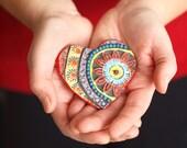 Heart Magnet READY to SHIP Tile Magnet Ceramic Magnet Boho Refrigerator Magnet Gift for Mom Gift for Grandma Valentine Gift Romy & Clare