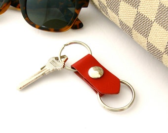 Red Leather Keychain Nautical Leather Two Part Keychain 3rd Anniversary Gift Women's Keychain or Men's Keychain Snapping Valet Key Ring
