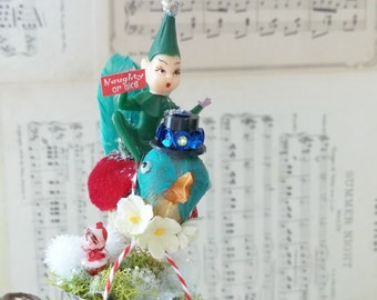 One of a Kind Heirloom Pixie Hitching a Ride on a Altered Art Vintage Feathered Green Baby Bird Christmas Tree Ornament Clip Gift Millinery