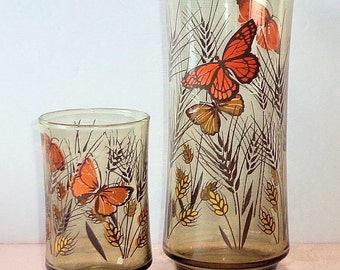 Vintage Libbey 2 Butterfly Drink Glasses Smoke Brown Wheat Juice Tumbler Cooler