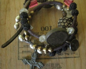 dark shadows ~ antique cross rosary rhinestone gemstone sequin tribal bangles