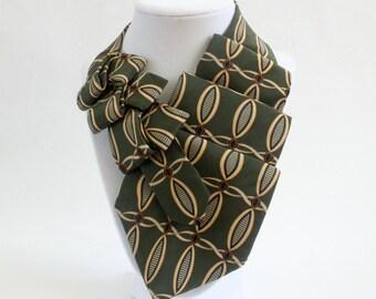 Necktie Necklace - Womens Tie - Unique Scarf - Gift For Wife - Eco Friendly Clothing - Silk Scarf - Necktie Scarf - Olive Green Necktie. 18