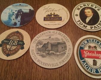 Set of 6 Vintage Beer Advertising Coasters