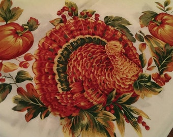 "Lovely 50"" Square Thanksgiving Turkey Pumpkins & Acorns Tablecloth"
