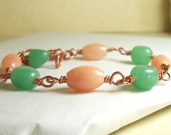 Green and Peach, Copper Wire Wrapped Bracelet. Green and Peach Aventurine Gemstones, Womens Bracelet