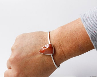 Triangle Passion Cuff Bracelet - Sterling Silver and Tiffany Stone Cuff Bracelet