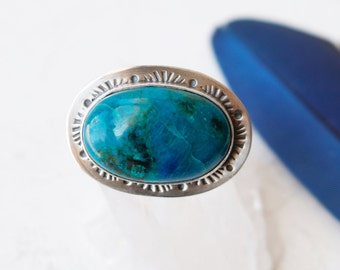 Dreamscape Ring - Chrysocolla and Silver Cocktail Ring