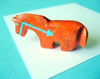 Zuni Sponge Coral and Turquoise Horse Fetish by Bernard Laiwakete