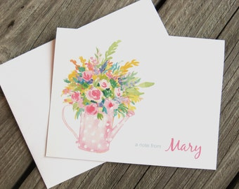Watering Can Bouquet Note Cards - Pink - Polka Dots - Spring Bouquet