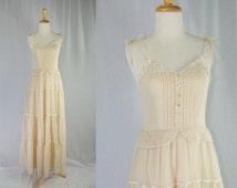Vintage 1970's Hippie Wedding Dress Prairie Corset top Boho Hippie Dream Candi Jones