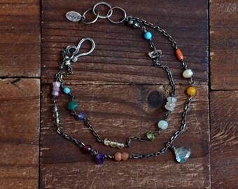 Mixed Stone Double Strand Bracelet - Multicolor Bracelet - Boho Colorful Bracelet - Oxidized Sterling Silver Bracelet - Labradorite Bracelet