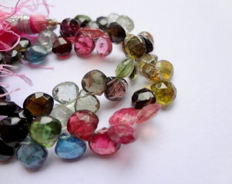 5mm Natural Tourmaline Faceted Briolette Teardrop Gemstone Beads - 28pcs