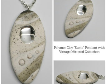 Pendant Granite Polymer Clay with Vintage Glass Cabochon