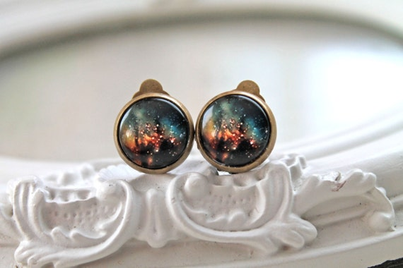 Galaxy clip on earrings space astronomy black yellow Style C