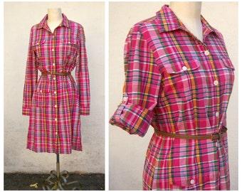 Red plaid shirt dress / long sleeve button up, cotton, midi, LL Bean womens small medium