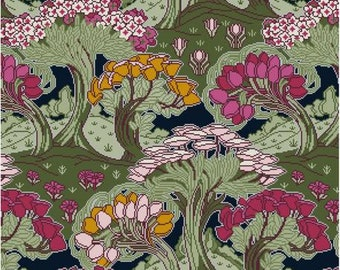Tulip Trees Floral Cross stitch pattern PDF Antique textile pattern F. Steiner