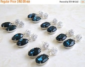 27% Off Sale Earrings Montana Navy Blue Oval Stone Silver Stud Post 6 pairs