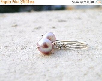 Clearance SALE Mauve Pearl Sterling Silver Earrings PE7 Wedding Jewelry