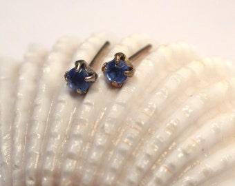 Blue Crystal Post Earrings, Minimalist Stud Earrings, Vintage Dainty Post Earrings, Blue Crystal Earring Studs, Retro Stud Earrings (E369)