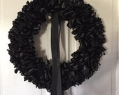 Reserved for Galina Mourning Wreath in Green Ribbon Black Ribbon Streamers and Sash 18 inch and 2 Floral Arrangements