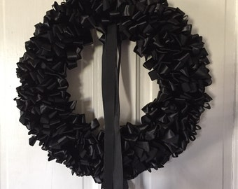 Wreath Mourning Wreath Black Ribbon 18 inch Sympathy Ready to Ship In Remembrance In Memorium Love Always
