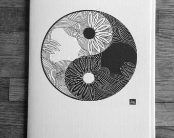 Greeting card Yin Yang- Zen art card