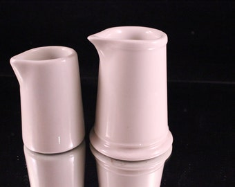 Pair of Vintage White Restaurant Ware Creamers/Cream Pitchers or Syrup Pitchers