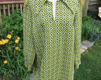Vintage 1970's Era Mod Yellow and Black Geometric Print Double Knit Ladies' Long Sleeve Blouse