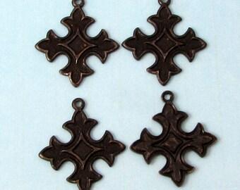 Maltese Cross Charm, Matte Black, Trinity Brass, 4 Pieces, MB69