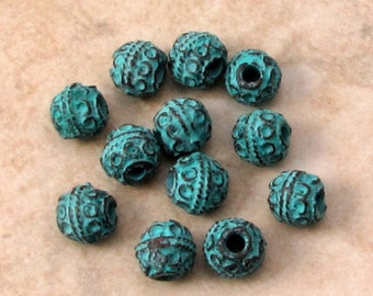 Bali Style Green Patina Round Bead, Mykonos, 5 MM, 12 Pieces M431