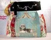 Embellished-Shih tzu Dog -Roses Dog -Blue-Patchwork Shoulder Bag-Messenger-Beach-Travel-bag
