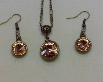 Light Peach Swarovski Crystal Necklace and Earring Set