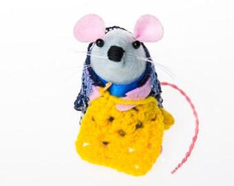 Crochet Mouse Ornament Artisan felt rat hamster mice cute gift for Crocheter Crochet Gift  - Lacey the Crochet mouse