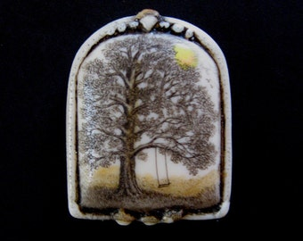Oak tree of life acorn scrimshaw technique reproduction pin