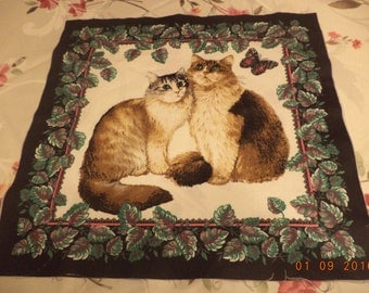 Fabric pillow top panel with cats kitten and butterfly