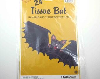 Vintage Tissue Bat Halloween Decoration or Die Cut with Honeycomb in Original Package by Beistle