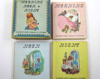 Morning Noon and Night Vintage 1960s Three Volume Boxed Set of Children's Books by Dorothy Wilson Illustrated by W. K. Plummer