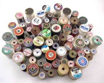 Vintage Assorted Wooden and a Few Plastic Thread Spools With Thread Set of 71